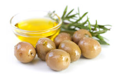 Olives with olive oil Royalty Free Stock Image