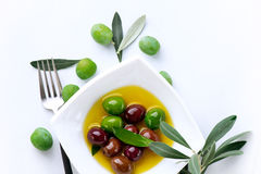 Olives and Olive Oil. Isolated on white Royalty Free Stock Photo