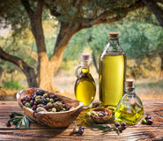 Olives and olive oil in a bottle.
