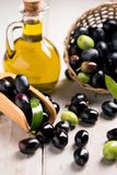 Olives And Olive Oil. In a Bottle Royalty Free Stock Photography