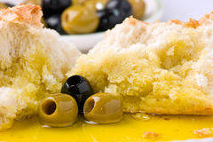 Olives, olive oil and bread. Royalty Free Stock Images