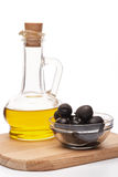 Olives and olive oil. Royalty Free Stock Images