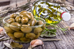 Olives in and olive oil Stock Photos
