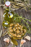 Olives in and olive oil Royalty Free Stock Image