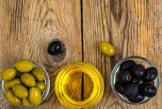 Olives with olive oil. Studio Photo Royalty Free Stock Photos