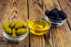 Olives with olive oil. Studio Photo Stock Image