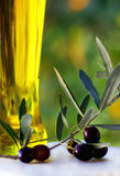 Olives and oliveoil. Stock Photography
