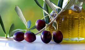 Olives and oliveoil. Stock Image