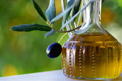 Olives and oliveoil. Royalty Free Stock Photography