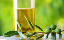 Olives and oliveoil. Royalty Free Stock Photos