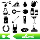 Olives and olives product theme black simple icons set Royalty Free Stock Photos