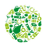 Olives and olives product theme green icons set Royalty Free Stock Photos