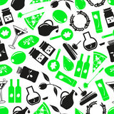 Olives and olives product theme icons green seamless pattern eps10 Royalty Free Stock Images