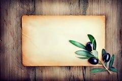 Olives over paper background Stock Images