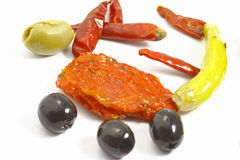 Olives papper and tomato Stock Images