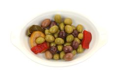 Olives Pepper Lemon Laurel Leaf Royalty Free Stock Photography