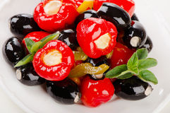Olives and peppers filed with  cheese Royalty Free Stock Photo