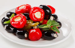 Olives and peppers filed with  cheese Royalty Free Stock Photography