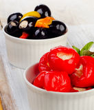 Olives and peppers filed with  cheese Stock Photo