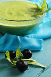Olives and pesto sauce Stock Image