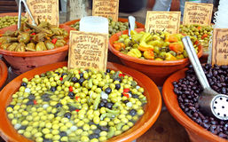Olives and pickle market stall Stock Photography