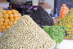Olives and pickled lemon. Olives and pickled lemon on market in Morocco Stock Images