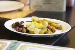 Olives pickled vegetables Lebanese cuisine Royalty Free Stock Photography