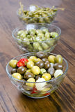 Olives and pickles in bowl Royalty Free Stock Images