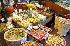 Olives pickles and salads. Assortment of olives, pickles and salads in Istanbul Spice Bazaar Royalty Free Stock Photography