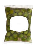 Olives in plastic box surface. Isolated on white background. white label Royalty Free Stock Photography