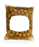 Olives in plastic box surface. Isolated on white background. white label Stock Image