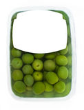 Olives in plastic box surface Royalty Free Stock Photography
