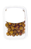 Olives in plastic box surface. Isolated on white background. white label Stock Photo