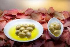 Olives on plates. Closeup photo of olives in olive oil on round an boat shaped plates.red fall leaves as background.selective focus used Royalty Free Stock Photo