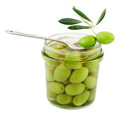 Olives preserved and fresh Stock Images