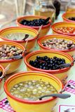 Olives Provence assortment for customers at a market stall stock images