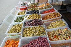 Olives and red chillies Royalty Free Stock Images