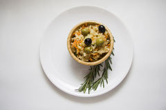 Olives and rice Stock Photography