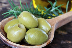 Olives, Rosemary and Olive Oil Stock Photo