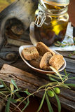 Olives and rusks Royalty Free Stock Photography