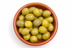 Olives on rustic bowl from above Royalty Free Stock Image