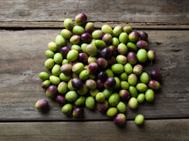 Olives on rustic table Stock Image