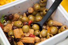Olives in a salad bar Royalty Free Stock Photos