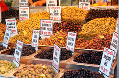 Olives for sale. Different types of olives for sale Istanbul Royalty Free Stock Photography