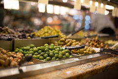 Olives on sale/display in a food market Royalty Free Stock Photo