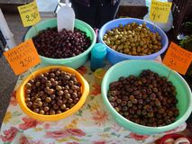 Olives for Sale, Greek Street Market Stock Images