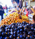 Olives for sale. Racks with olives at Mahane Yehuda, famous market in Jerusalem Royalty Free Stock Photos