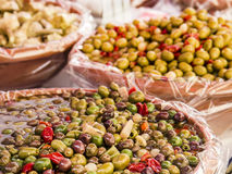 Olives on sale Royalty Free Stock Photos