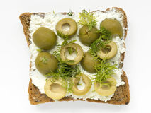Olives sandwich Royalty Free Stock Photography