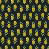 Olives seamless pattern on dark background. Cute vector olive branch illustration Stock Photos